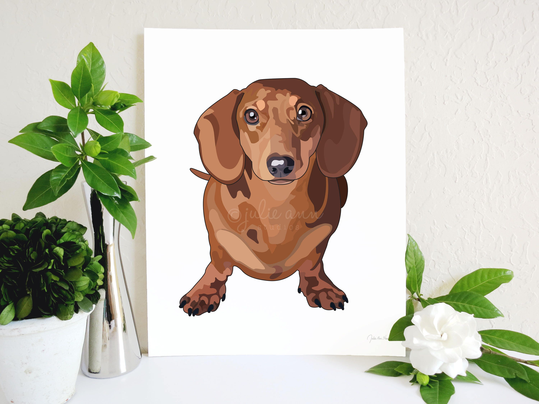 red dachshund art print doxie art dachshund decor doxie - like this item