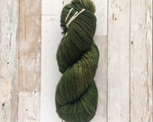 sale | OOAK hand dyed yarn | forest green | 75/25 SW Merino Nylon DK