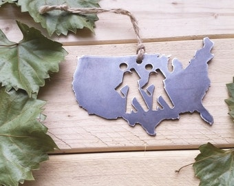 United States of America Hikers Steel Ornament USA Metal State Heart Christmas Tree Ornament Host Gift Hikers Wander By BE Creations