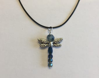 Blue beads Dragonfly necklace