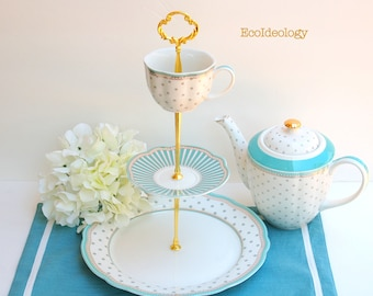Cake Stand.Blue & White 3 tier Cake/Cupcake Stand.Polka Dots Tiered Stand.Tea Party, Vintage Baby/Bridal Shower, Wedding Centerpiece