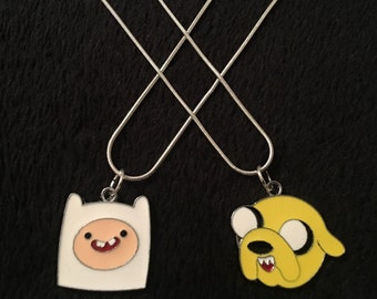 80p UK P&P *2pcs SET* Adventure Time Necklaces jake necklace + Finn necklace in Gift bags jake and finn pendants charm *UK Seller*