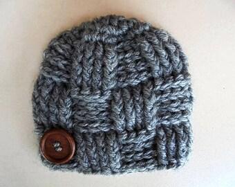 Basket weave hat, wool baby hat, newborn boy hats, baby boy winter hat, newborn boy beanie, newborn boy outfit , gray baby boy hat