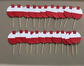 24 Fishing Bobber cupcake toppers. Great for birthday parties or baby showers. Free Shipping!!