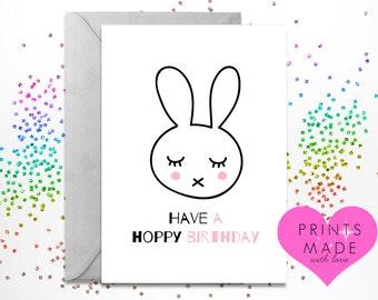 Greetings card / birthday card / A5 / Hoppy Birthday / bunny