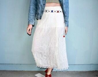 Vintage White Lace Midi Skirt S