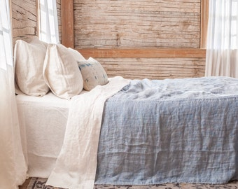 linen blanket / bedspread lightweight double sided linen bedding made in U.S.A. made in Maine