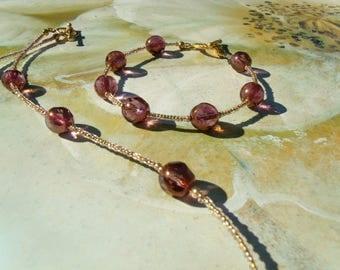 Bohemian glass beads set bracelet necklace Violet Gold Steamed