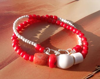 OLD TREASURES, red white inside beads, bamboo coral, coral, shell, red white, Microreaction, TRADEBEADS, Africa
