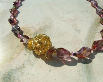 FESTIVE NECKLACE bracelet Fuchsia of purple violet blue gray green gold wrap Pearl twisted Microreaction