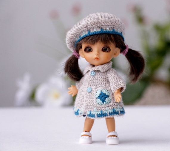 Crochet Mini Doll Clothes : 3 inch doll Miniature crocheted Set Clothes for mini doll