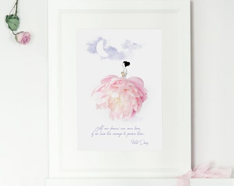 Peony Floral Fashion Illustration Art Print, Walt Disney Quote, Childrens Room Art, Girls Nursery Art, Inspirational Quote, Sassy Du Fleur