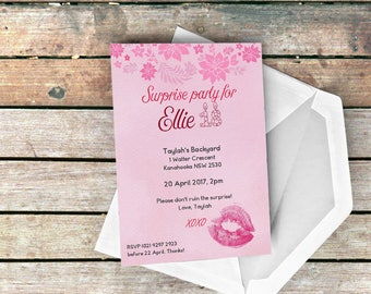 Our Lips Are Sealed Rose Romance Surprise Invitation for Birthday