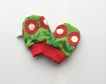 Baby or infant mittens, baby scratch mitts, green knit fabric with retro flowers. Baby Gift Boy or Girl Hand Covers Gender neutral