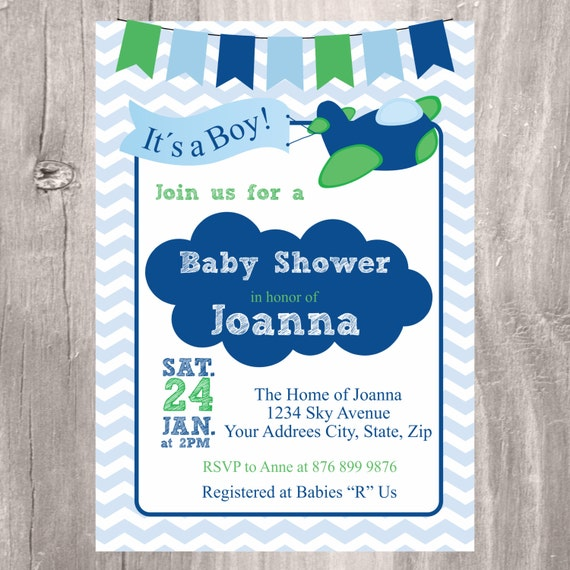 baby shower invitation airplane baby shower invite personalized blue