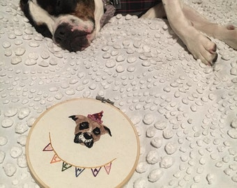 Custom Single Pet Portrait Embroidery Custom Portrait Animal Lover Pet Lover Pet Memorial Gift Under 50