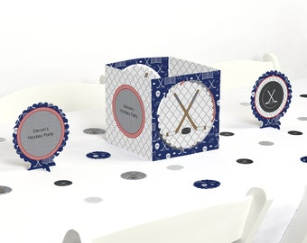Hockey  - Centerpiece & Table Decoration Kit - Shoots and Scores! Baby Shower and Birthday Party Decorations - 39 Piece Set