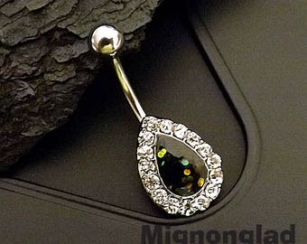 """14g 3/8"""" (10mm) / Opal Glitter Centered Crystal Paved Tear Drop 316L Surgical Steel Belly Button Rings"""