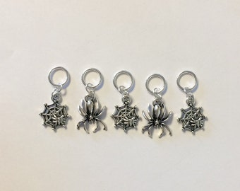 Halloween Spiders and Webs Knitting Stitch Markers -set of 5