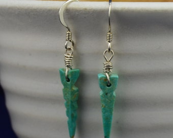 Hand Carved Blue Turquoise Arrowhead earrings with silver wire (J)