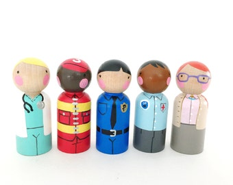 "5 community helper career peg dolls with felt sleeping bag // 2 3/8"" wooden peg dolls - wooden toys"