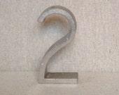 Vintage Metal Number 2 - Birthday No. 2 - Aluminum Number 2 - Retro Number 2 - Art Deco - Industrial Number 2