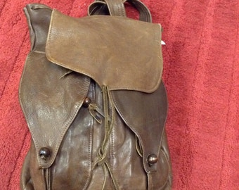 Vintage 1930's-40's Brown Leather Rucksack Backpack