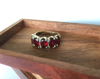 Garnet and Gold Plated Statement Ring