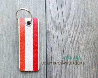 CUSTOM HANDSTAMPED white distressed leather keychain with stripes by mothercuffer