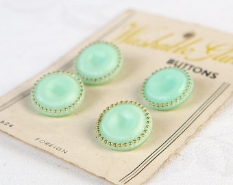 1950's Mint Green and Gold - Washable Glass Buttons  - on original card