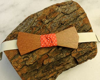 Leopardwood bow tie; Red polka dot fabric center tie; Wooden bow tie; Unique bow tie; Handmade bow tie