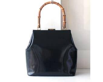 Gucci Bamboo Black Patent Leather Tote handbag Rare Vintage authentic bag