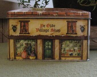 Vintage Tin Ye Olde Village Shop  The Tin Box Company NY Tea Container