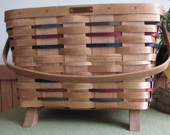 Basketville Basket Footed with Handle Woven Slat Storage Baskets Vermont-made Handmade Dated Baskets 1997