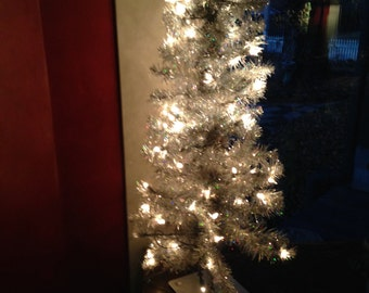 Vintage  3  Foot  Silver  Tinsel  Christmas  Tree  - Lighted