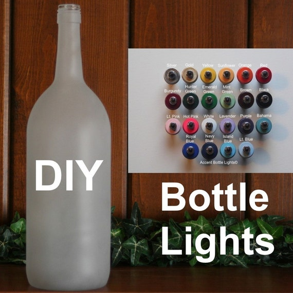 Liquor Bottle Centerpieces: Items Similar To Frosted Glass DIY Lighted Wine Bottle