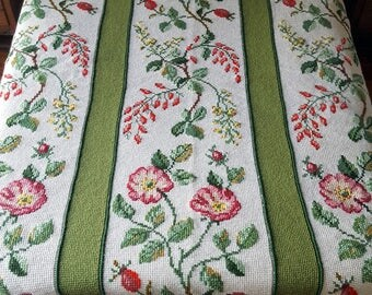 Vintage Hand Crocheted Needlepoint Afghan Flower Decoration