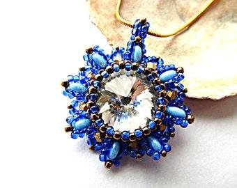 Blue White Swarovski Crystal Pendant White Rivoli Swarovski Pendant Necklace Beadwork Bead Embroidered Pendant with Swarovski Rivoli (16mm)