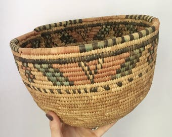 Bohemian Vintage African Basket // Nigerian Hausa Handwoven Coiled Natural Dye