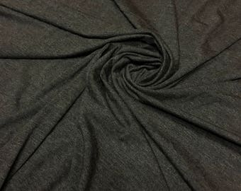 2 TONE CHARCOAL Rayon Spandex Jersey Knit Fabric, 4 Way Stretch, Four Way, BTY By The Yard
