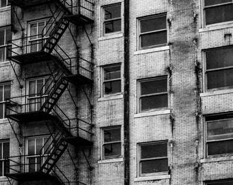 Old Fire Escape in Downtown Kansas City, Black & White Fine Art Photography by Pitts Photography