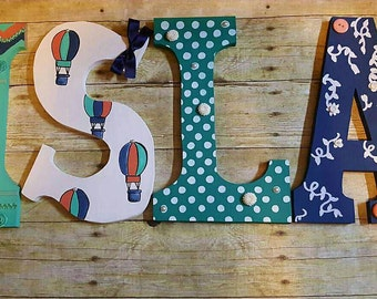 Handpainted Kids Room Letters, Nursery Letters for baby, Wooden Nursery Letters, Wood Kids Letters, 12 inch Wall Letters, Hand painted Decor