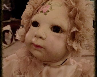 "Hand Painted Vintage Bisque Doll ""Kristen"" OOAK!"