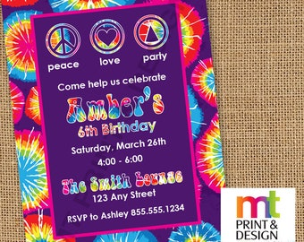 Peace Love Party Tie Dye Birthday Invitations PRINTED with envelopes