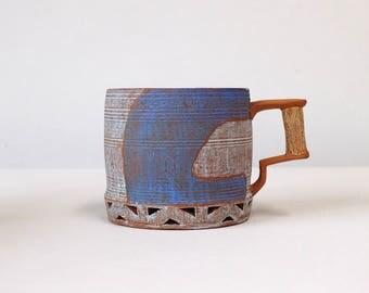 Blue/Dark Blue Carved Coffee Mug