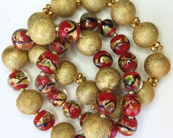 The Golden Cluster: Stacker Bracelets in Gold and Murano beads (set of 3.)