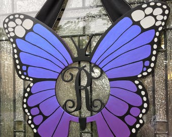 Deluxe Butterfly Door Hanger Monogram,Custom color,Multichrome Paint,Butterfly Wreath,Butterfly gift,Purple Butterfly Initial