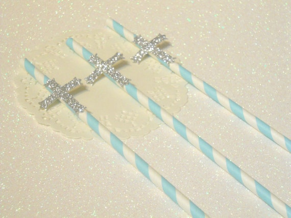 12 Cross Straws Boy Baptism Decorations Boy Christening Decorations Boy Confirmation Cross Party Decor Easter Straws Confirmation Party