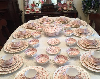 Royal Crown Derby Rougemont pattern 12 place setting. 76 pieces .