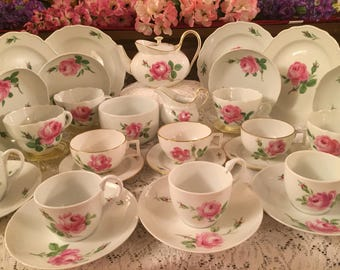 Collection of Meissen Pink Rose tea set. 32 pieces.
